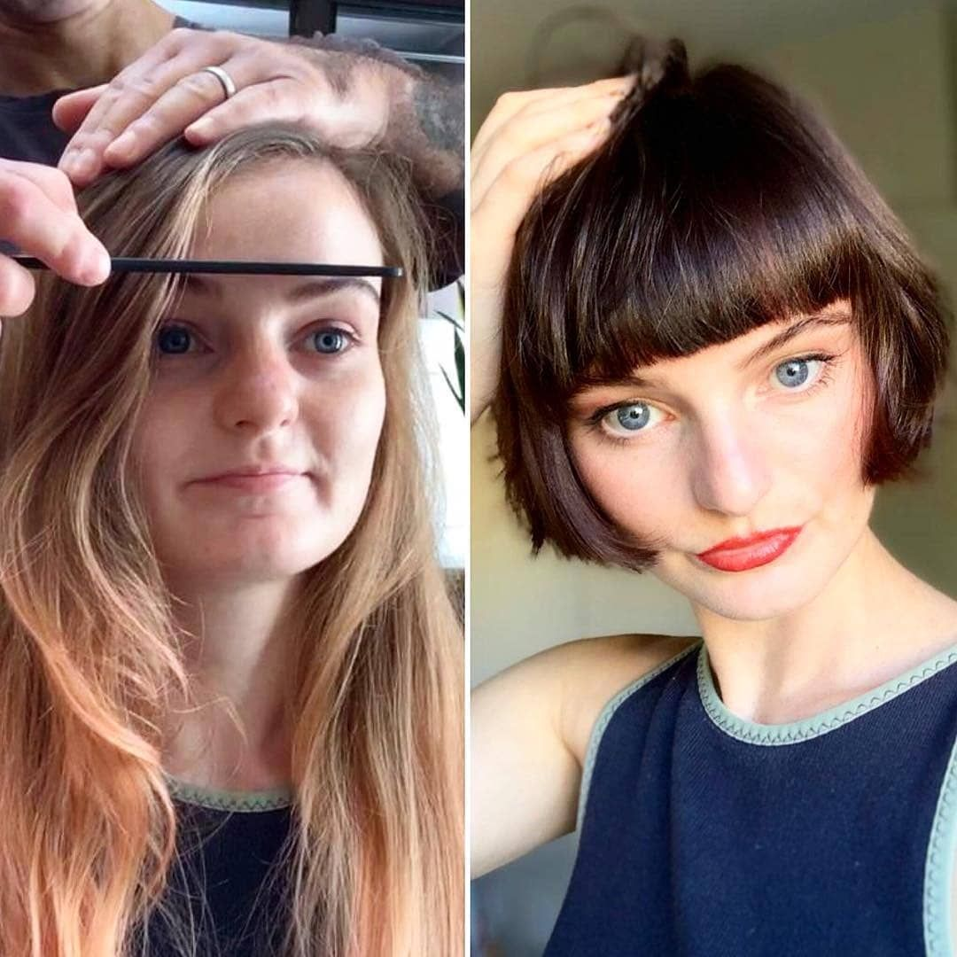 Transformation Thursday Valonzhaircutters From Drab To Fab Ruby Was One Of Our Models Long To Short Hair Hair Transformation Hair Makeover