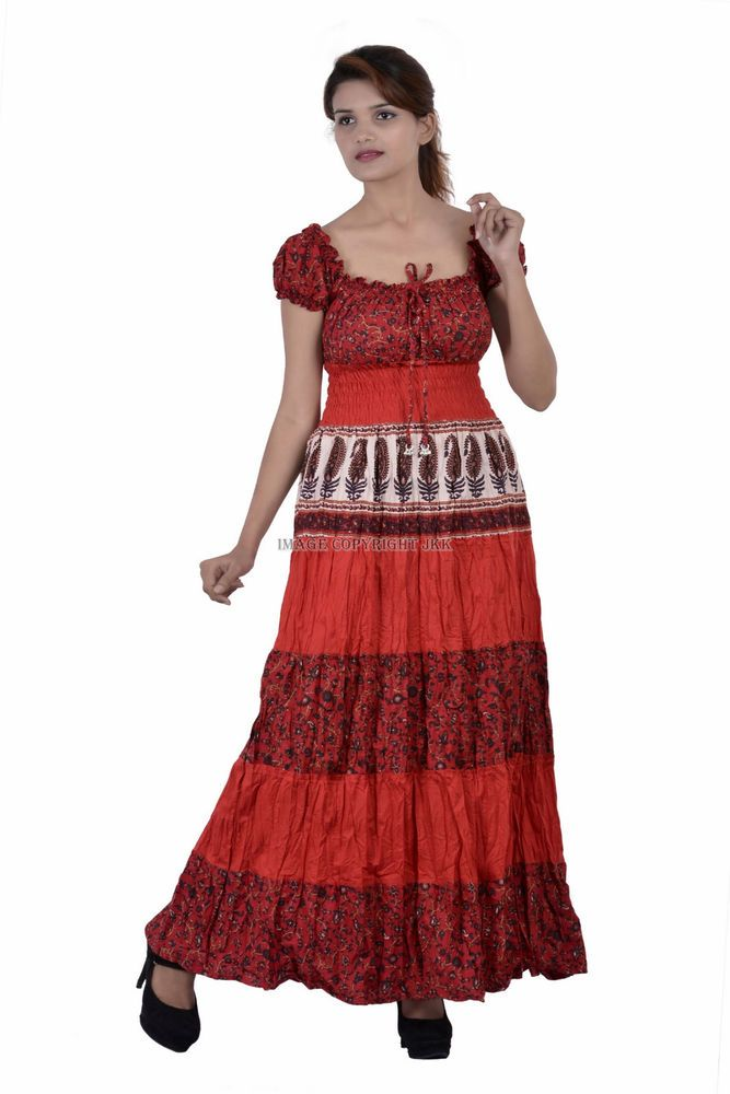 Red Women Cap Sleeves Long Maxi Multicolored Printed Cotton Tunic Casual IWUS #Handmade #Tunic #Casual