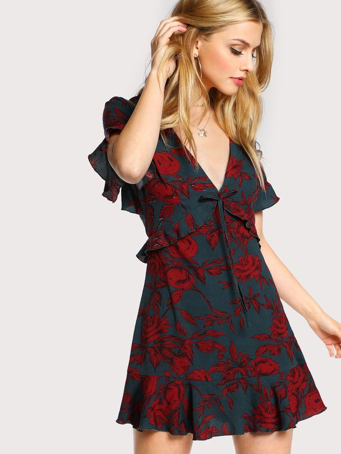 Shein Open Back High Waist Frilled Dress  e3dee1a74