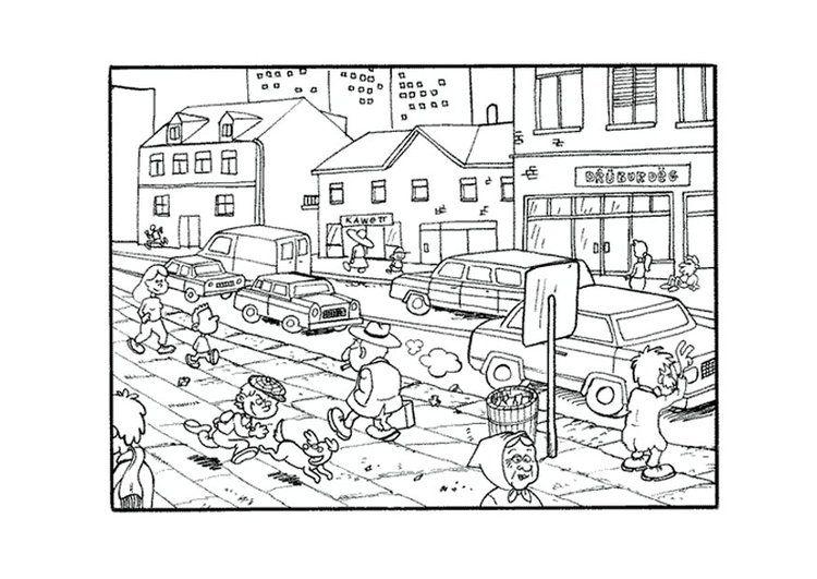 Dibujo Para Colorear Ciudad Paisaje Rural Imagenes De Comunidad