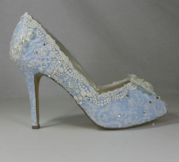 Something Blue Bridal Shoes Lacy Wedding Comfortable High Heels
