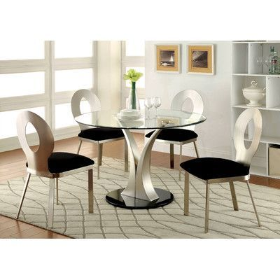 Orren Ellis Beulah Upholstered Dining Chair Glass Dining Table