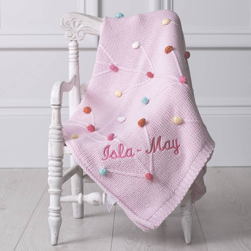 knitted personalised baby blankets