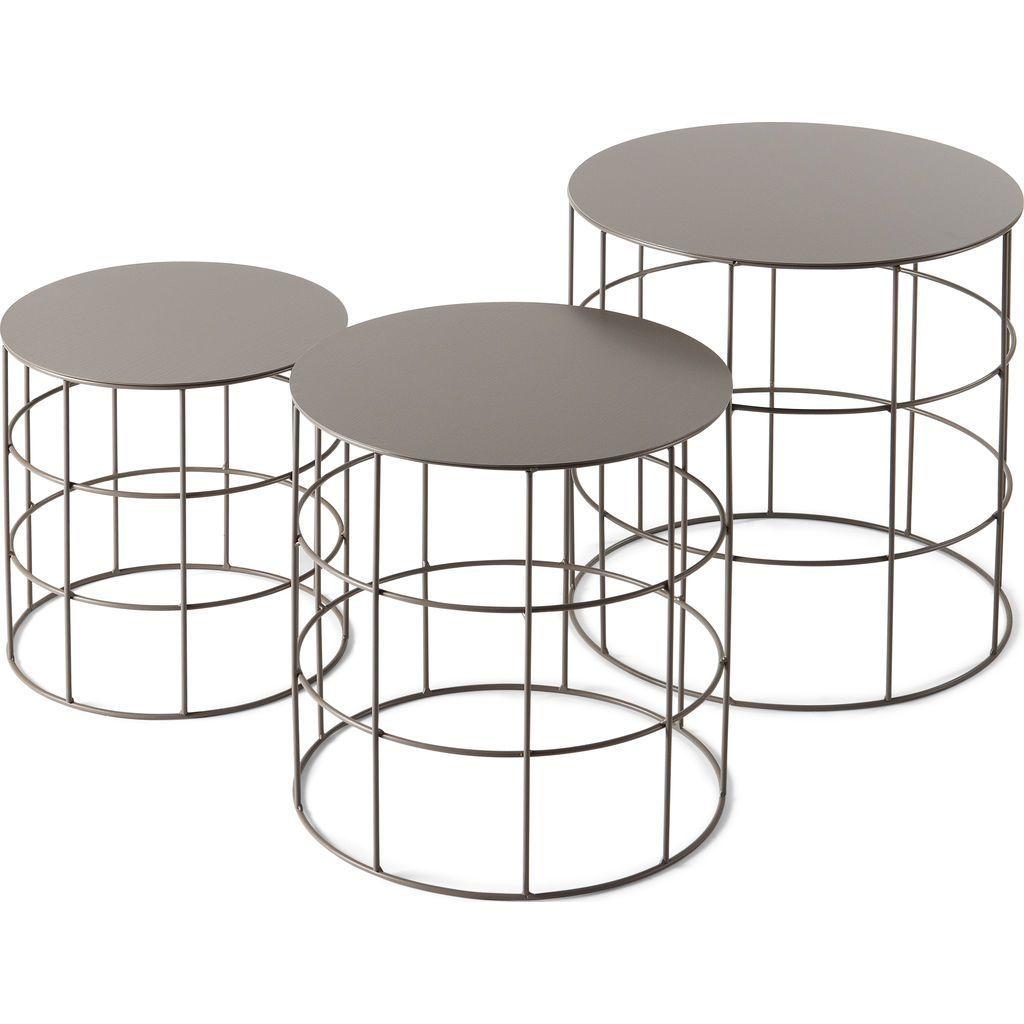 Atipico set of 3 reton rounded coffee tables beige gray