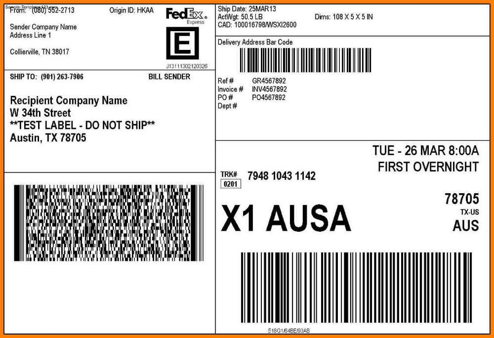 It is an image of Sizzling Printable Fedex Shipping Labels