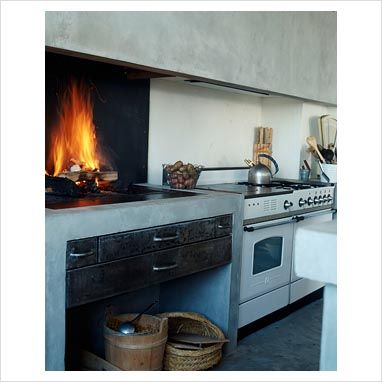 GAP Interiors - Modern kitchen with fireplace cooker - Picture library specialising in Interiors, Lifestyle & Homes