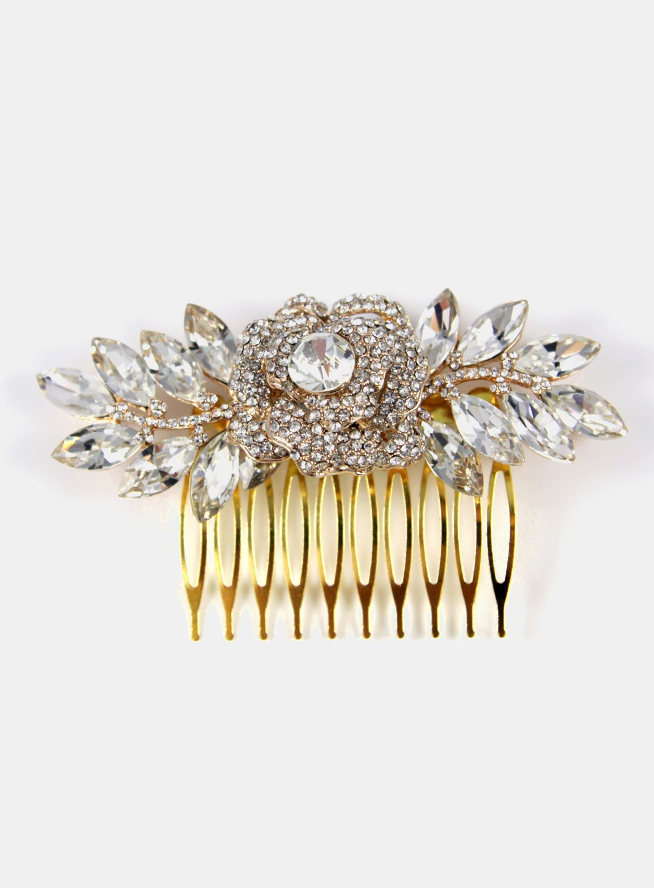 Nalini Crystal Rose Gold Wedding Hair Comb Garden.
