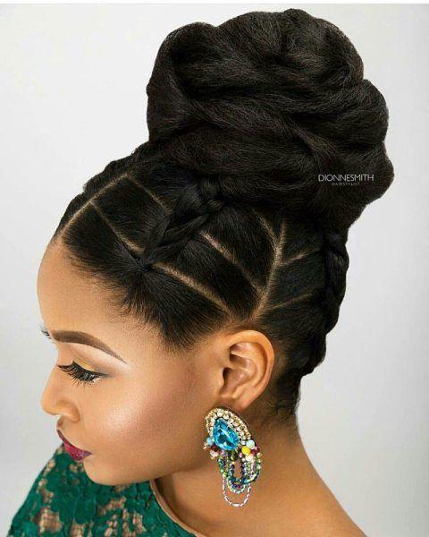 HAIR OF THE DAY Jumbo BraidsBun HairstylesNatural Updo HairstylesBlack Girls