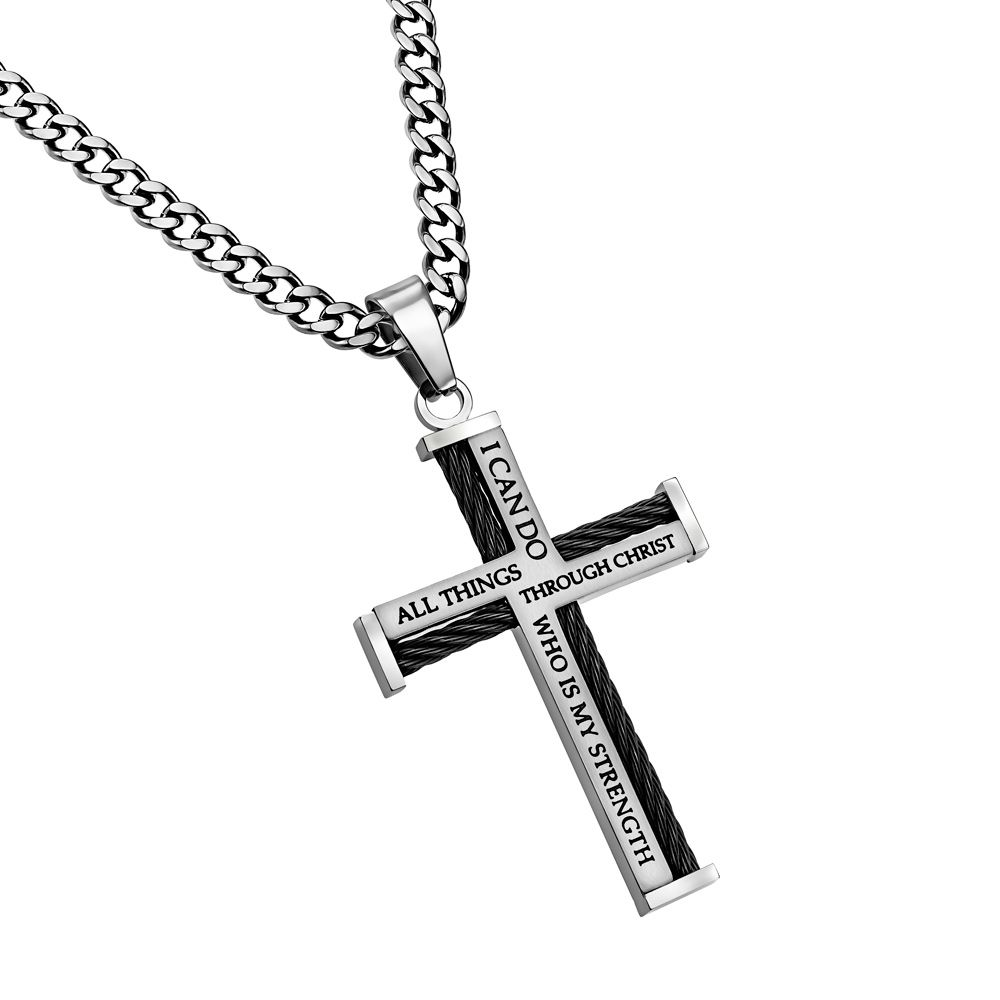 Christ My Strength Mens Cable Cross Necklace On Upgrade Chain On Songear Com Christian Shirts Jewelry