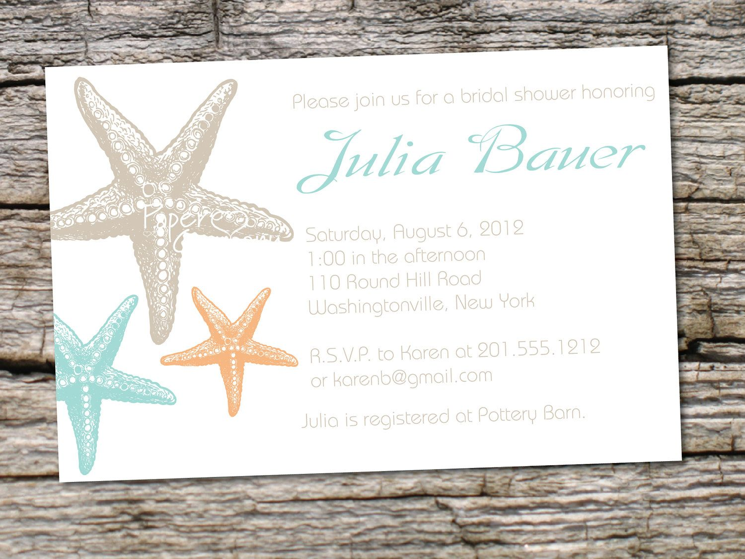 STARFISH ELEGANCE Bridal Shower Baby Shower Destination Wedding