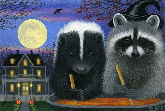 Raccoon Skunk Stirring Brew Halloween Haunted House Limited Edition Aceo Print Realism Halloween Haunted Houses Raccoon Art Halloween Haunt