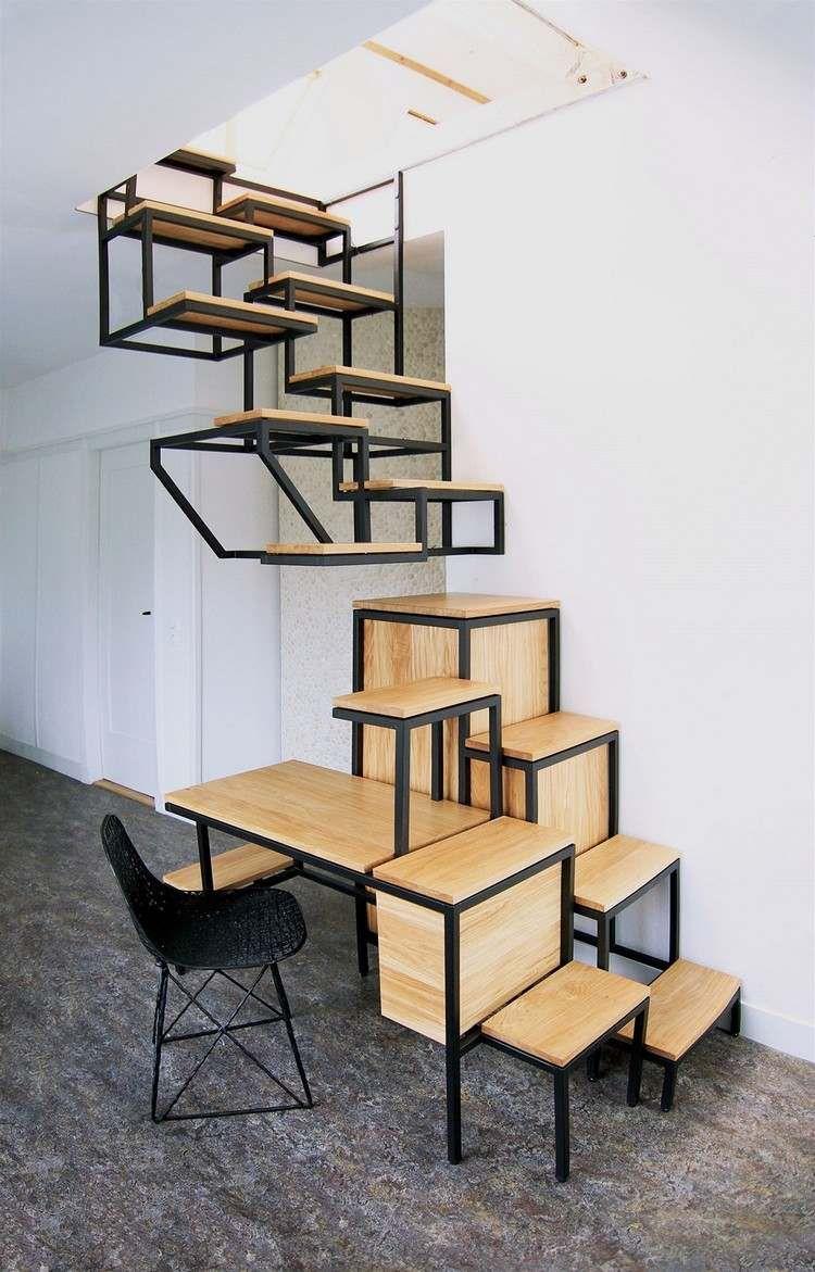 Escalier gain de place et id es grande hauteur sous plafond escalier gain d - Hauteur sous escalier ...