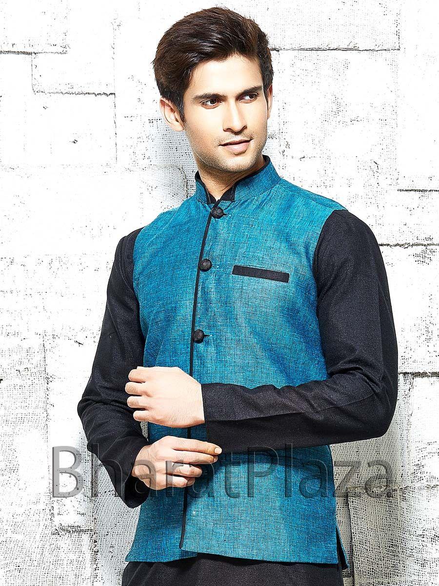 Impressive teal color linen nehru jacket with contrast buttons. Item ...
