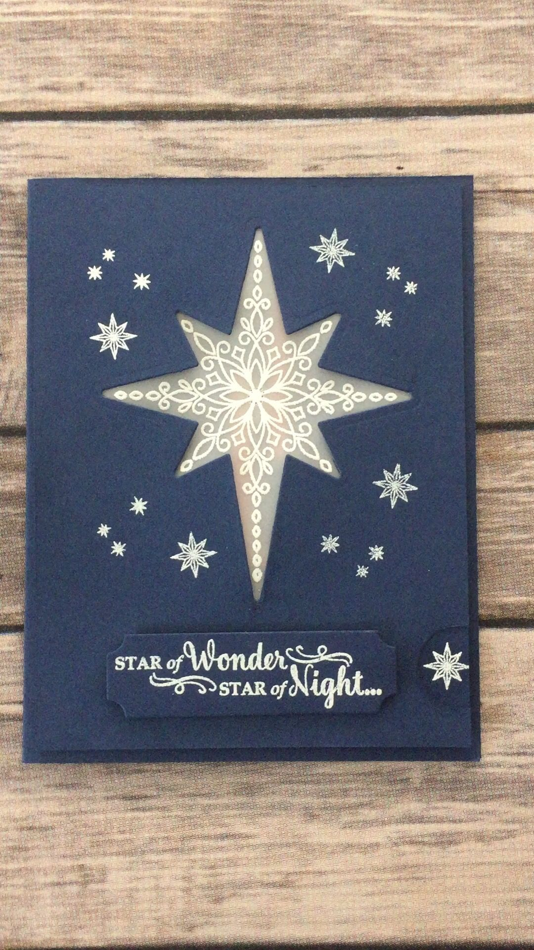 Light up Star card using Stampin Up Star of Light stamp set