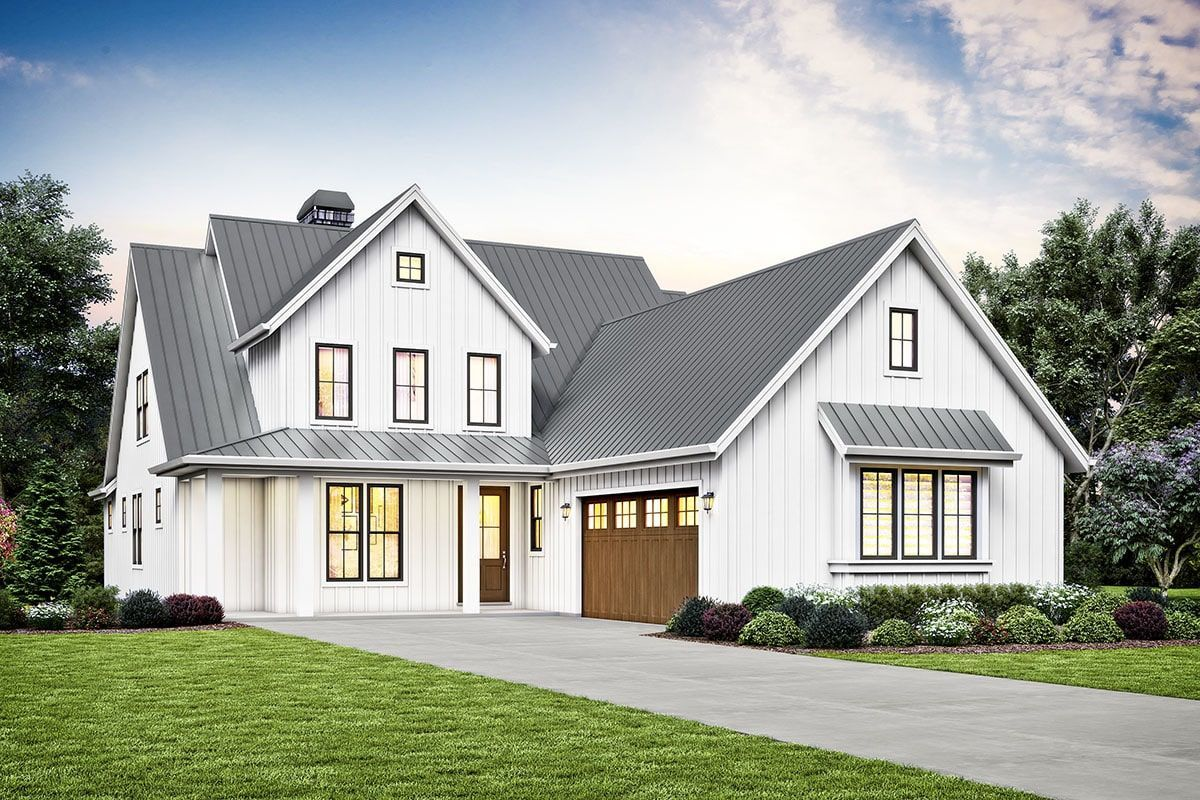 3 Bedroom Two Story Modern Farmhouse with Side Load Garage and Bonus Room Floor Plan