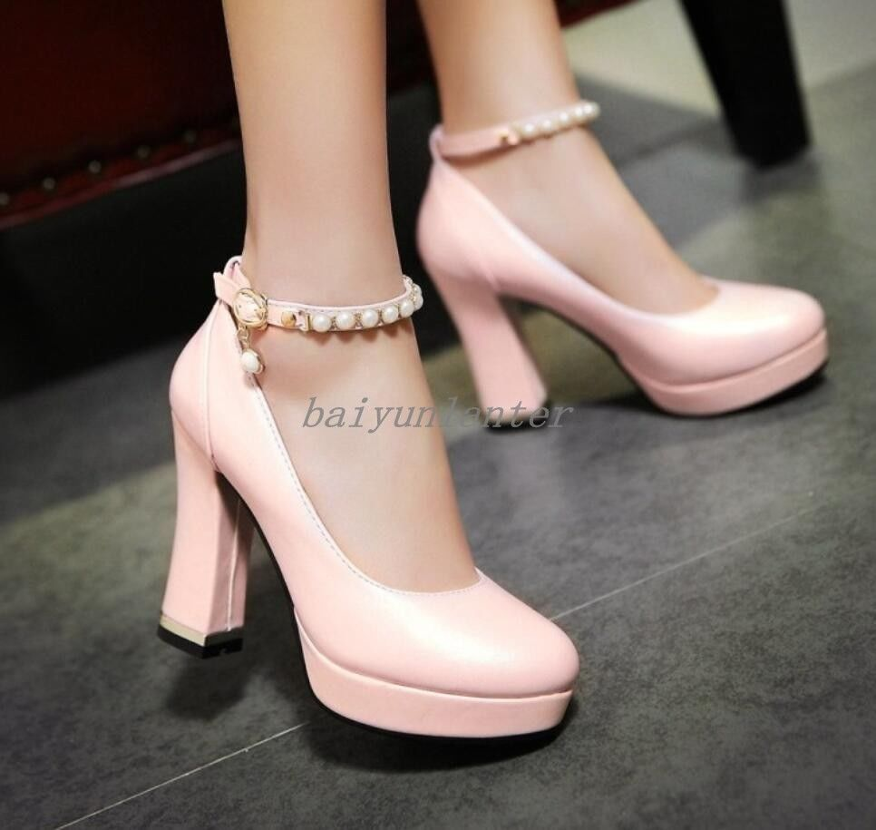 223173641d7 Women s Chunky Heel Shoes Buckle Strap Rhinestones Platform Pumps Round Toe