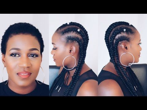 How To Crochet Feed In Braids On Very Short Natural Hair Youtube Feed In Braid Short Natural Hair Styles Natural Hair Styles