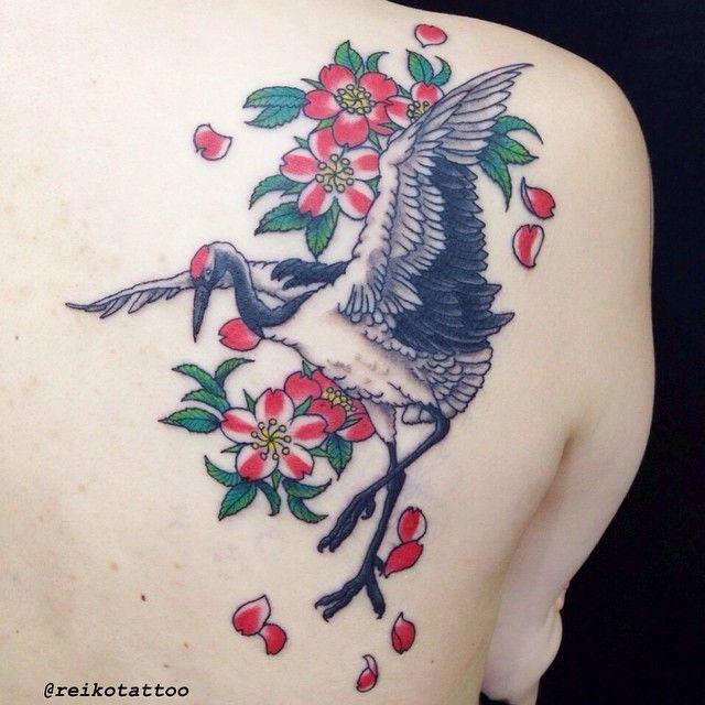 Red Crowned Crane Tattoo Crane Redcrownedcrane Cherryblossom