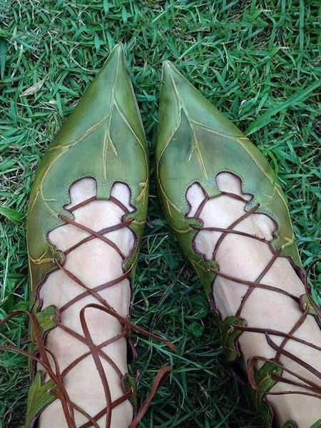 Leaves Pattern Bandage Pointed Shoes Fairy Shoes Fairy