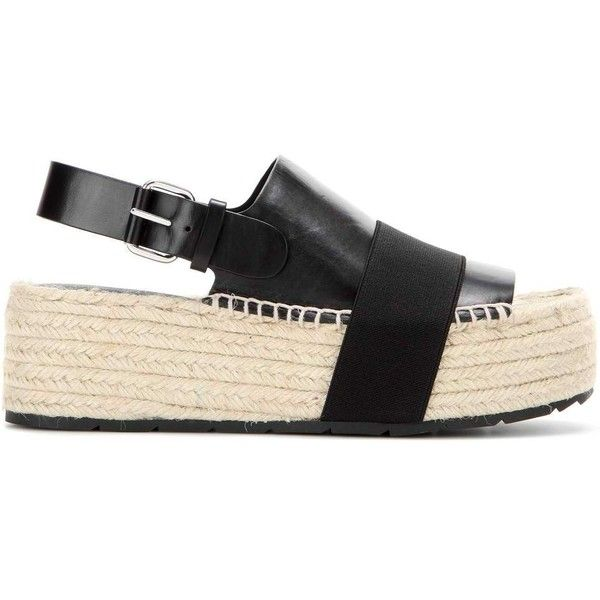 d579a437d51 Balenciaga Leather Platform Espadrille Sandals (£465) ❤ liked on Polyvore  featuring shoes