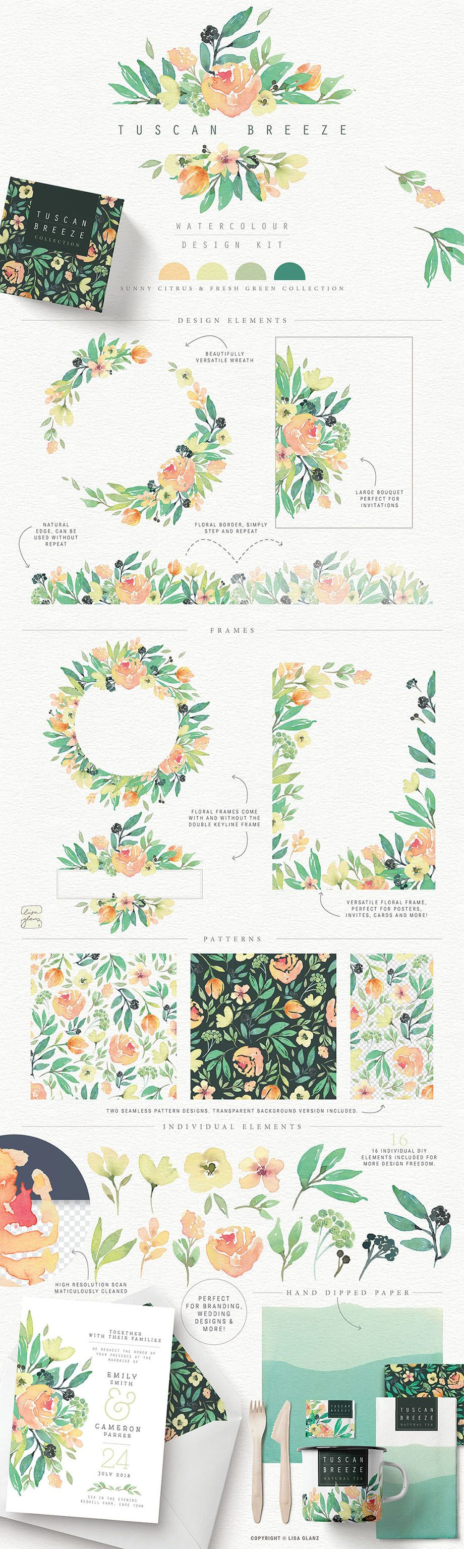 Each watercolor collection has been created with its own trending colour palette and look for easy modern designs. Perfect for wedding stationery, branding, apparel, invites, greetings and beyond!