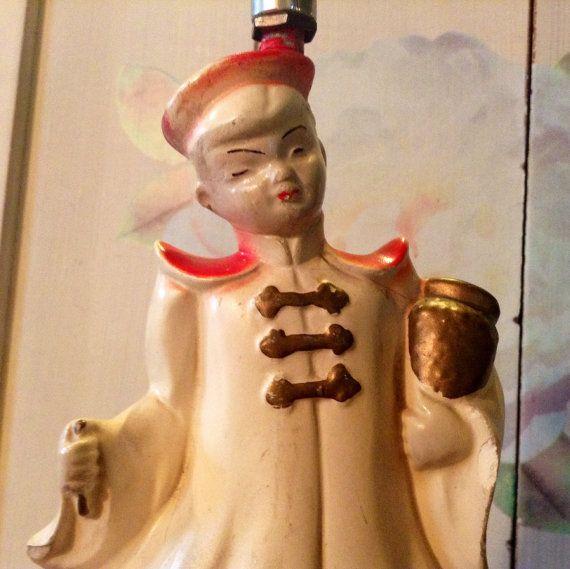 Antique Asian Chinoiserie Chalkware Ceramic Lamp Vintage Oriental Themed Ceramic Lamp 1940s 1950s Asian Figurine Little Boy Lighting
