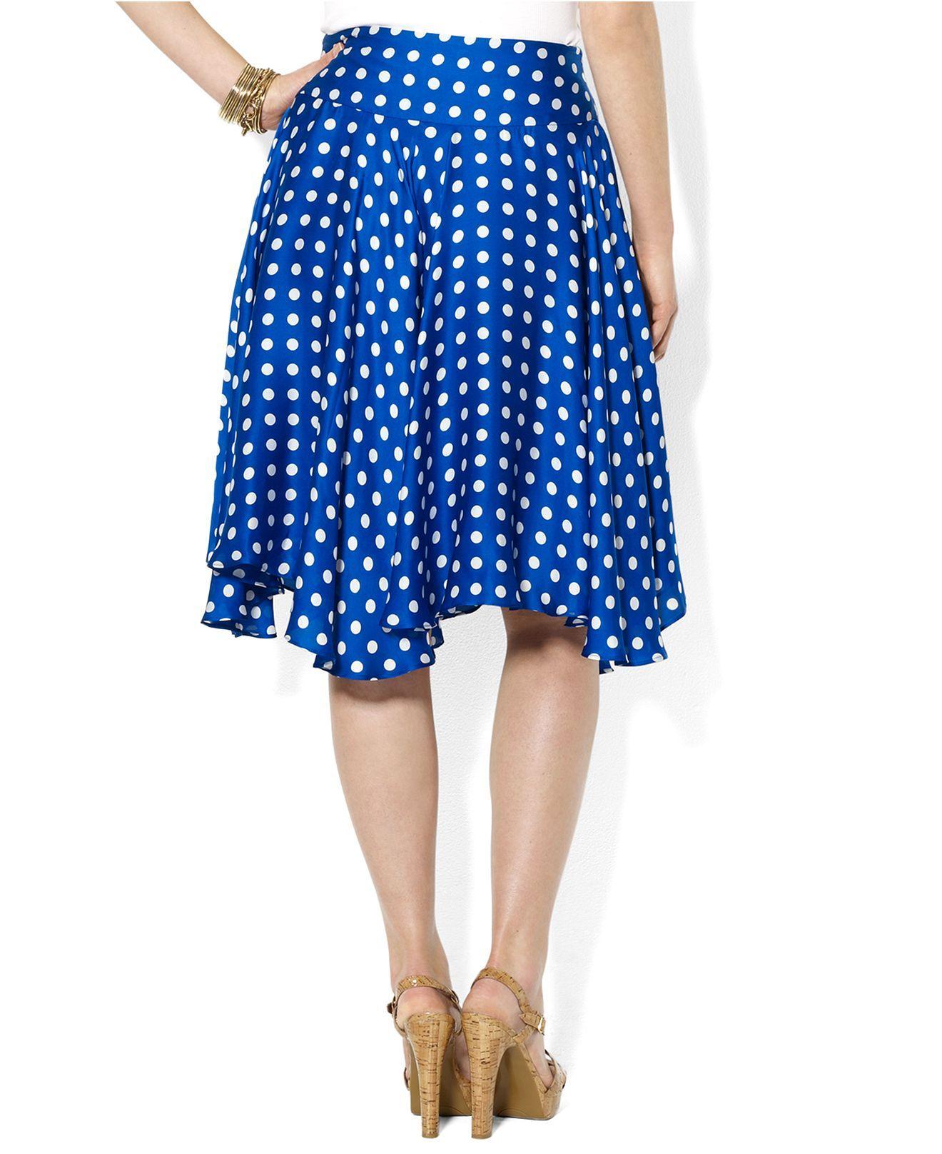b20a885ab3 Lauren Ralph Lauren Plus Size Skirt, Polka-Dot Ruffled Silk - Plus Size  Skirts - Plus Sizes - Macys