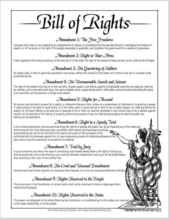 The 10 amendments of the Bill of Rights page Great for your - bill of sale for land