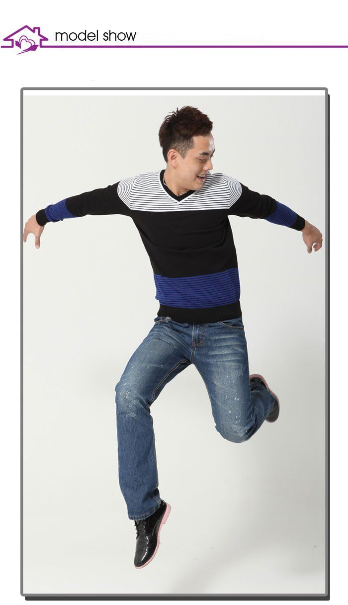 Aliexpress.com : Buy Free Shipping Male Sweatshirts Fashion V neck Striped Colors Patched Men's Sweaters for Spring Wear M0023 from Reliable Men's Sweaters suppliers on SICIBAY - Kids' Clothing:Selling for Donating