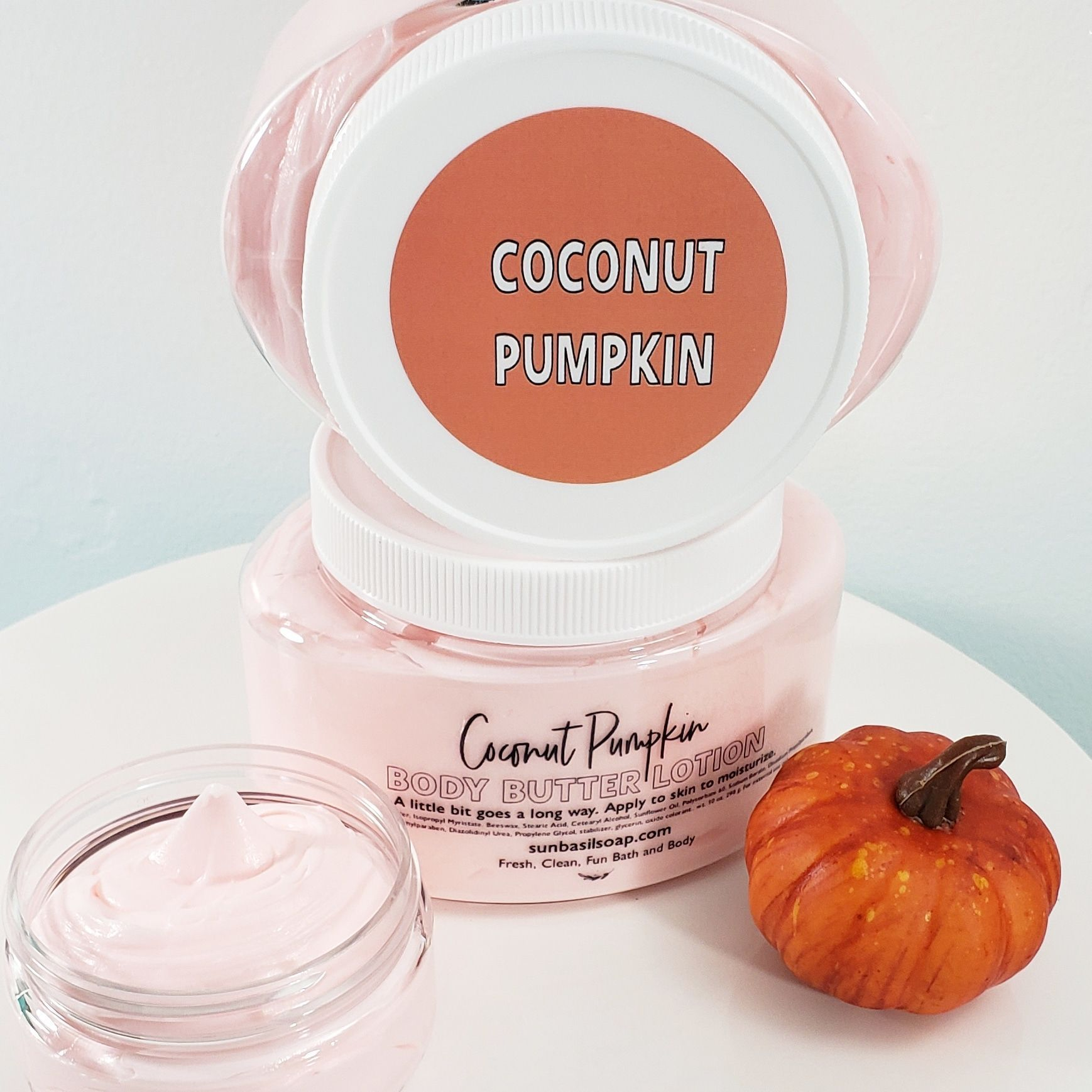 Pumpkin Body Butter Our coconut pumpkin body butter is a thick body cream to moisturize your skin all day. This body lotion is scented in cozy fall blend of rich vanilla, pumpkins and coconut cream.Our coconut pumpkin body butter is a thick body cream to moisturize your skin all day. This body lotion is scented in cozy fall blend of rich vanilla, pump...