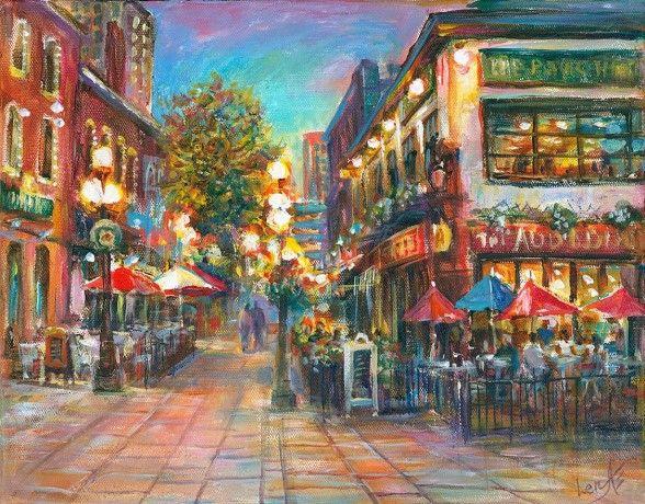 """Happy Ottawa Night"" - Fine Art Original Painting on canvas 11x14"", framed by world renowned artist Elena Khomoutova"