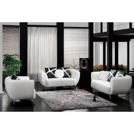 2946 - White Bonded Leather Sofa Set