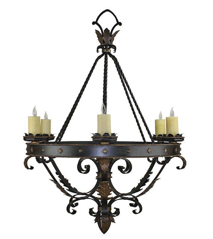 Custom wrought iron lights hand forged chandeliers hacienda lights aloadofball Choice Image