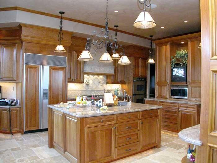 light cherry cabinets kitchen |  light maple flooring and