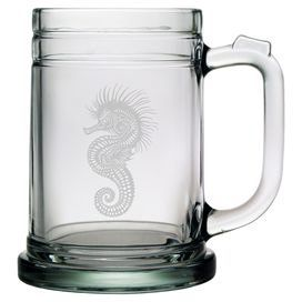"""Glass stein with a sand-etched seahorse design. Made in the USA. Product: Set of 4 steinsConstruction Material: GlassColor: ClearFeatures: Each decoration is deeply sand etched into the glass surface by hand in a 110+ year old factory in PennsylvaniaMade and decorated in the USA15 Ounce capacity each Dimensions: 5.12"""" H x 3.25"""" Diameter eachCleaning and Care: Dishwasher safe"""