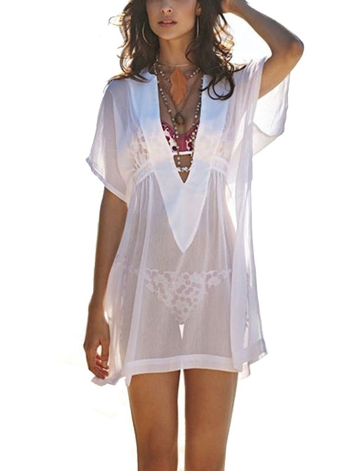d837a84ac466e PAKULA® Women's Sexy Translucent Deep V Neck Swimsuit Cover Up Dress $19
