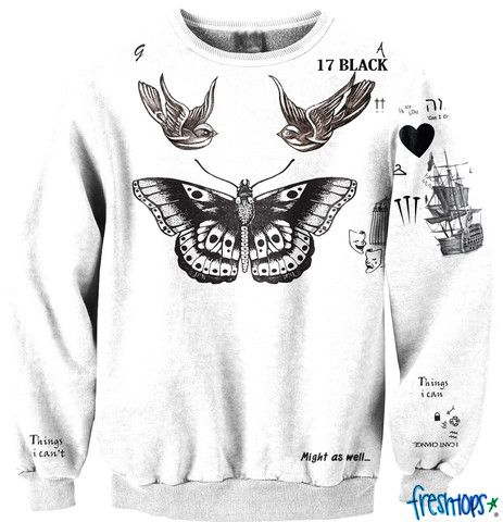 4b5fd511c801 One Direction - Harry Styles Tattoo Crewneck t shirt. WHERE CAN I BUY  THISSS AHHH seriously i will own this in the near future. MOMM