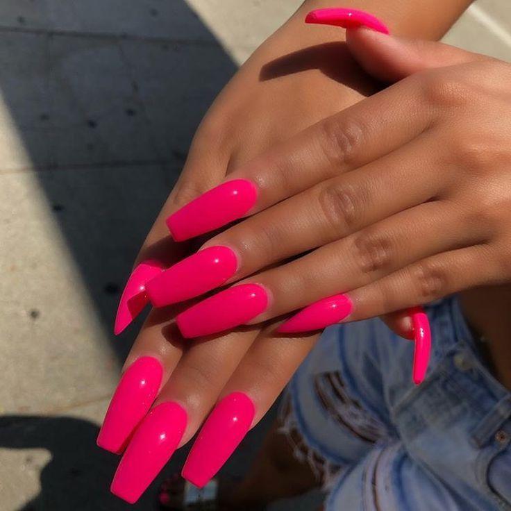 Bright Acrylic Nails Bright Pink Nails Pink Acrylic Nails Neon Pink Nails