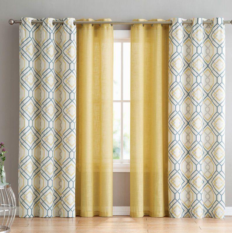 Minchinhampton 4 Pieces Top Geometric Semi Sheer Grommet Curtains Geometric Curtains Grommet Curtains Panel Curtains