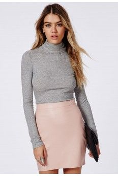 Rapalah Long Sleeve Ribbed Turtle Neck Jersey Grey