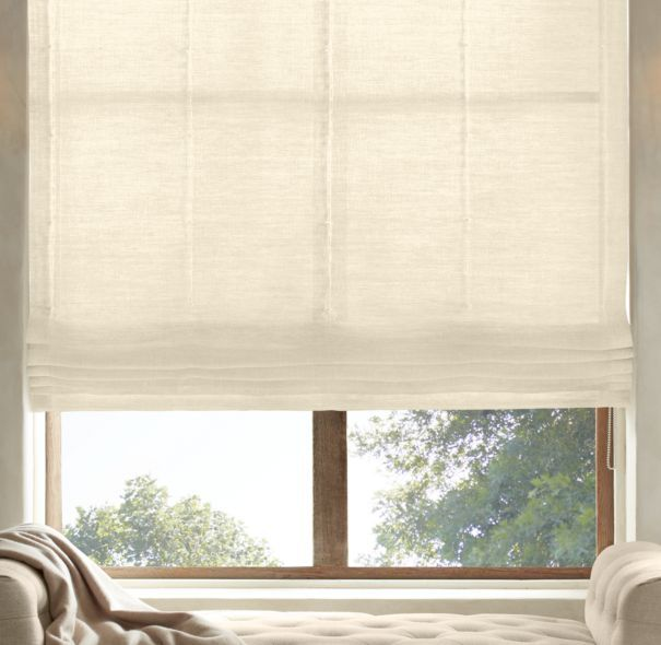 Belgian Sheer Linen Flat Roman Shade Kdkd Living Room