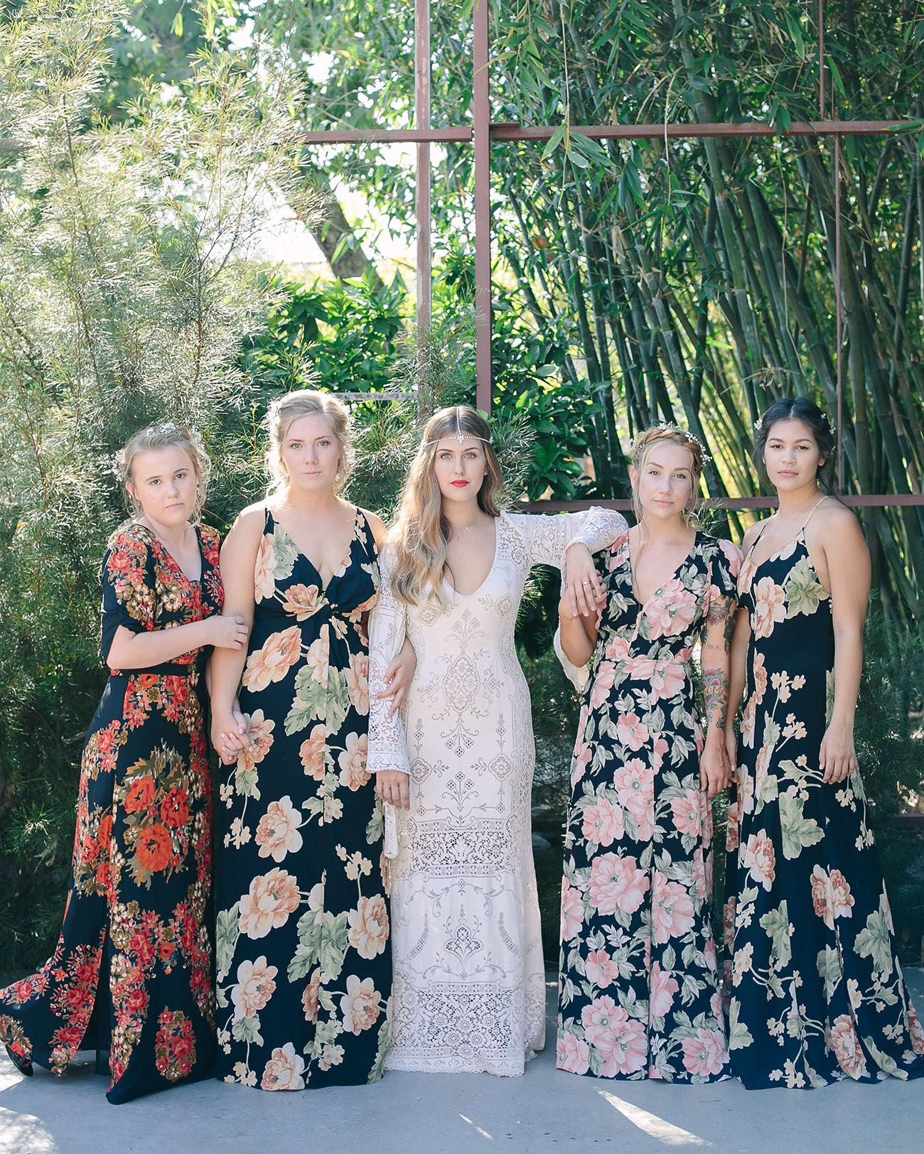 Urban Chic Los Angeles Wedding Haley Austin Green Wedding Shoes Floral Bridesmaid Dresses Bridesmaid Dresses Boho Summer Wedding Attire