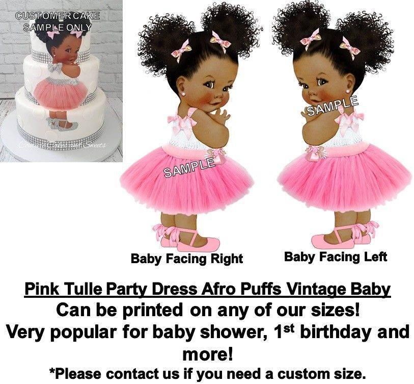 Home & Garden Beautiful Pre-cut Pink Tutu Sitting Baby Edible Cake Topper Image Cupcakes Afro Puffs Baby