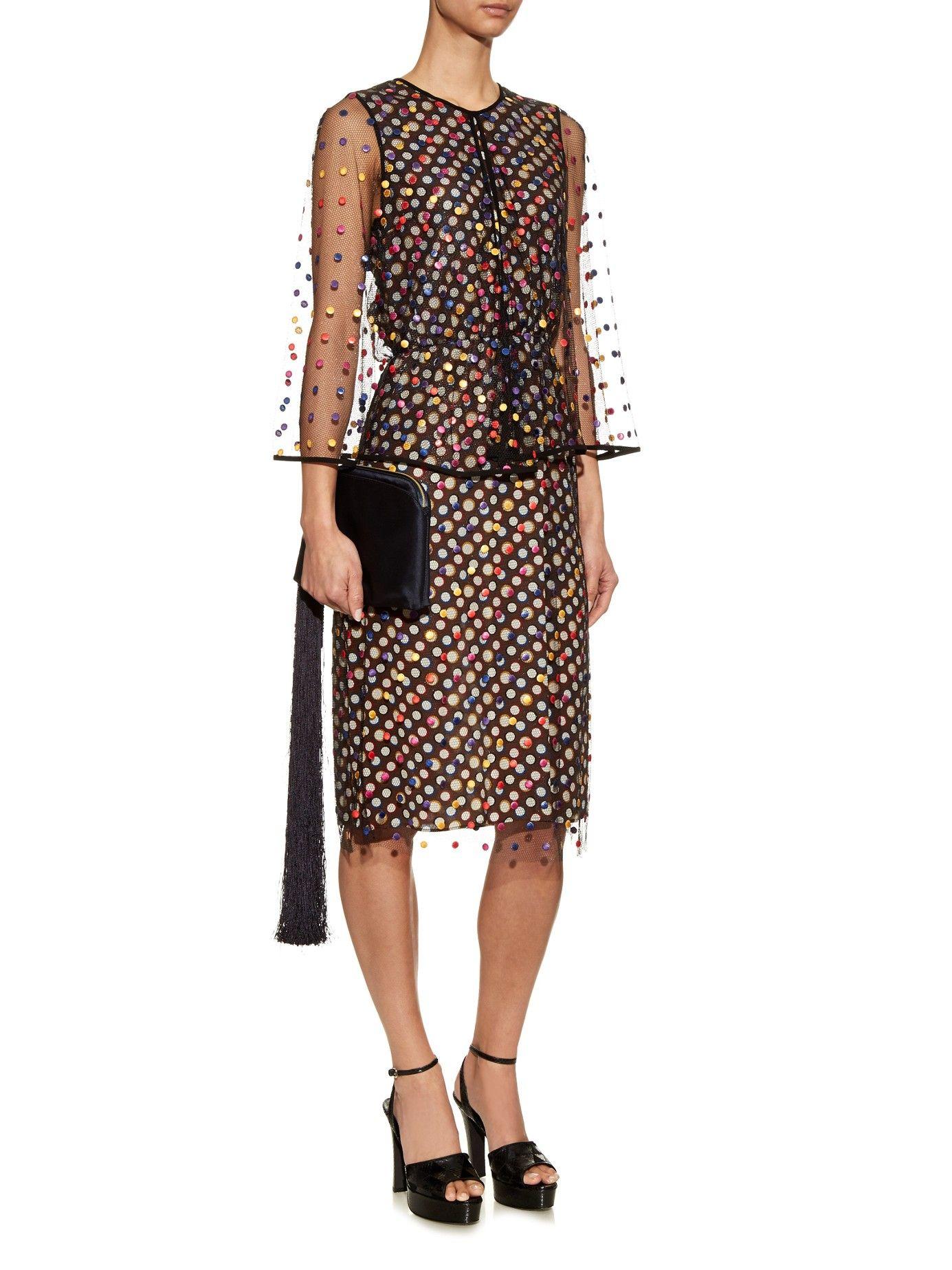 Polka-dot embroidered tulle cape dress | Marco De Vincenzo | MATCHESFASHION.COM US