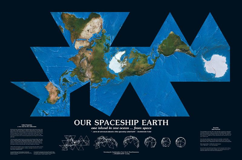 Spaceship Earth    Dymaxion World Island Map by Buckminster Fuller