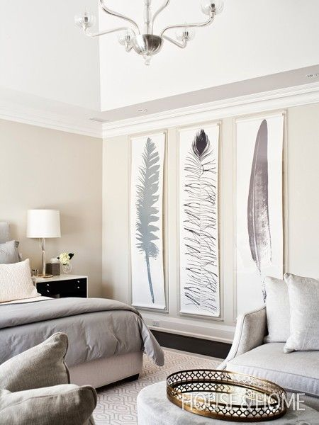 Large Scale Feather Prints Wall Decor Bedroom Home Decor Large Wall Decor
