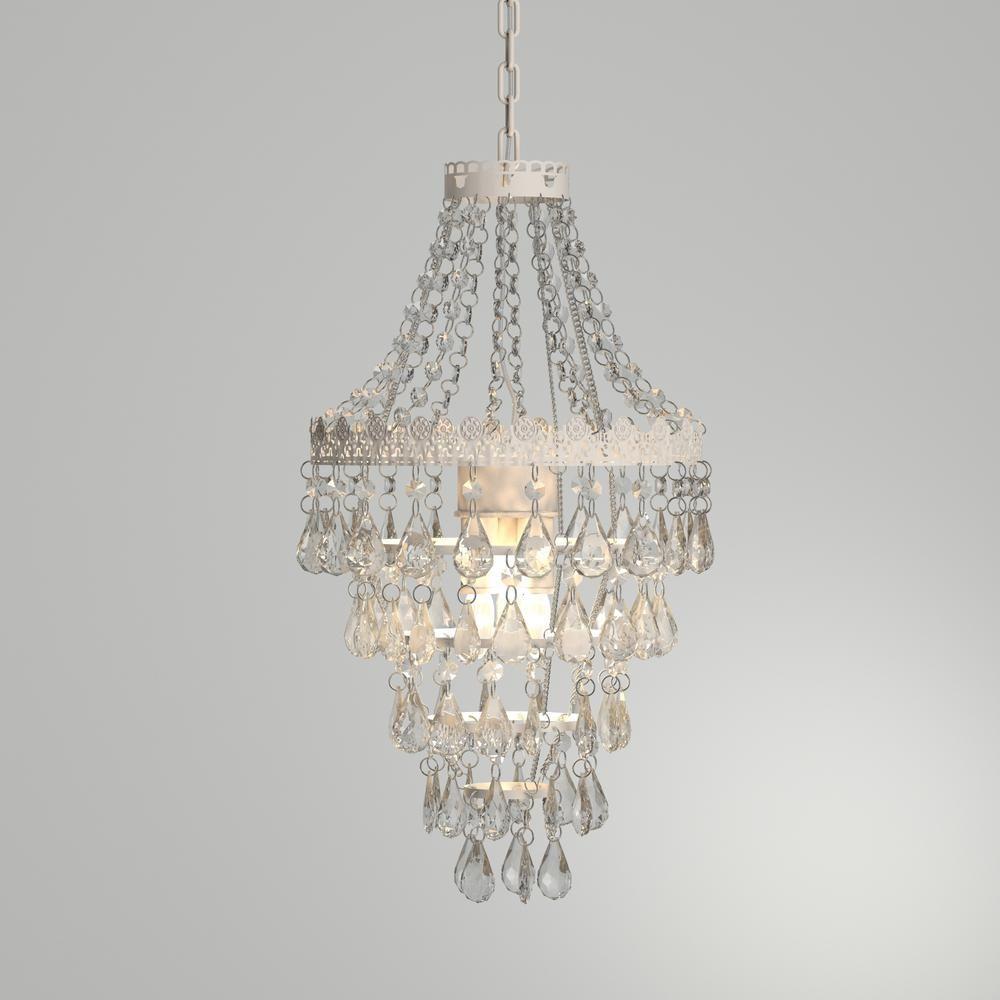 Tadpoles 1 Light Antique White Diamond Pendant Lamp Chandelier Cplapl010 The Home Depot In 2021 Pendant Lamp Chandelier Girls Bedroom Chandelier
