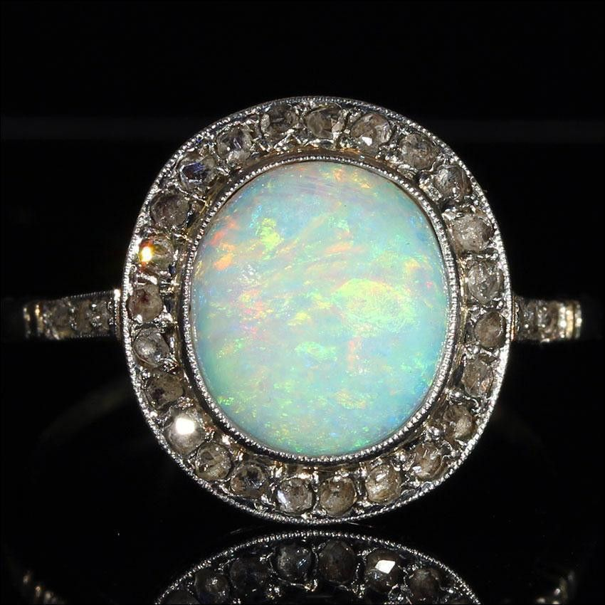 Vintage Art Deco Opal and Diamond Cluster Ring in 18k White Gold