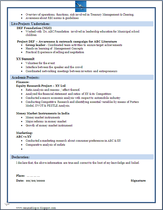 Resume Formats Sample Of A Beautiful Resume Format Of Mba Fresher
