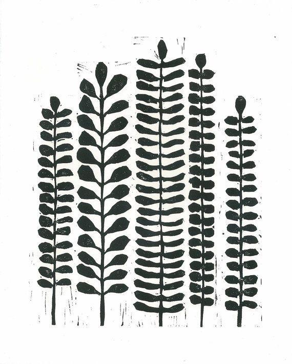 Linocut print black x10